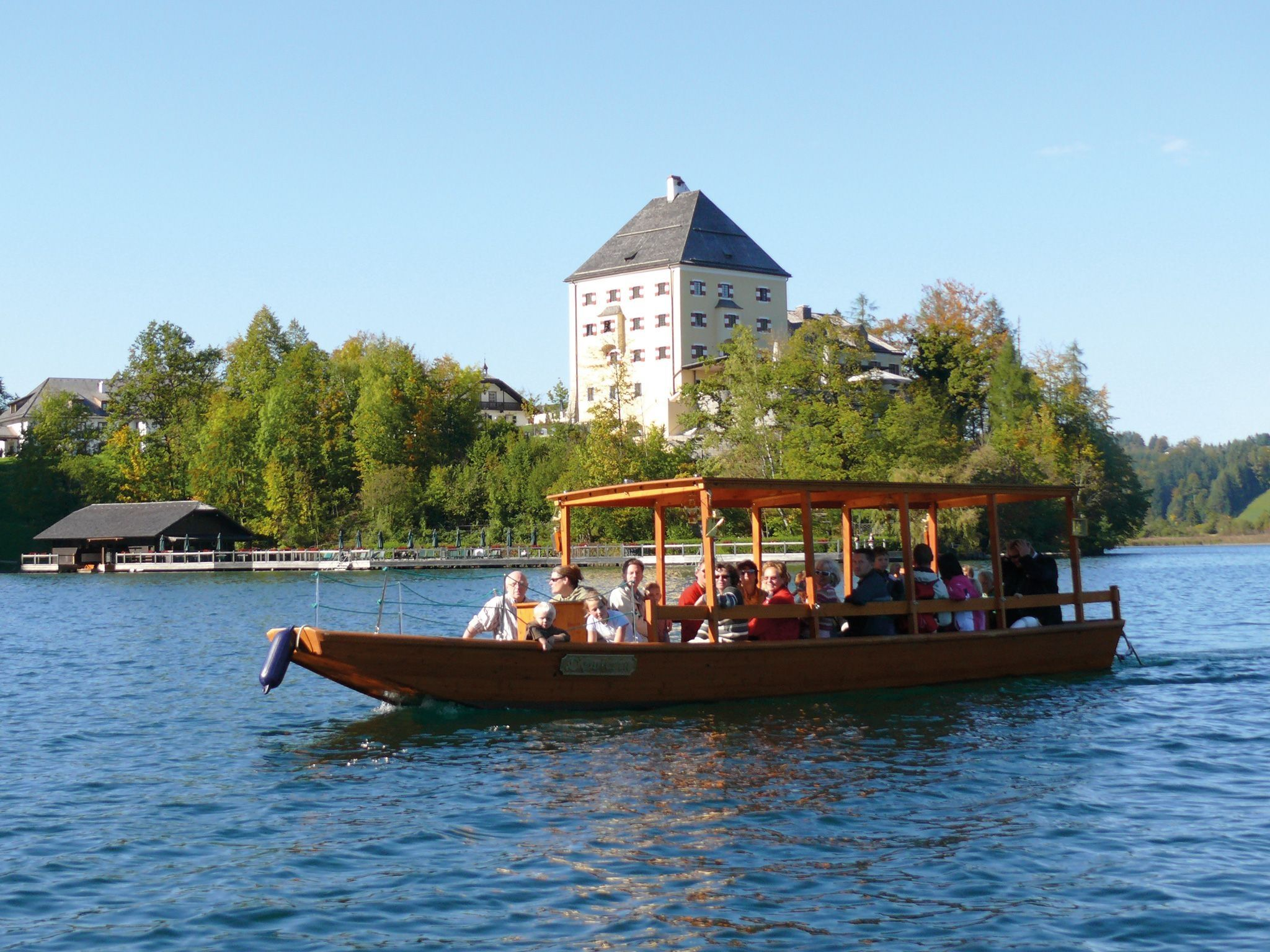 "Wooden Bark ""Zille"" on Lake Fuschl 